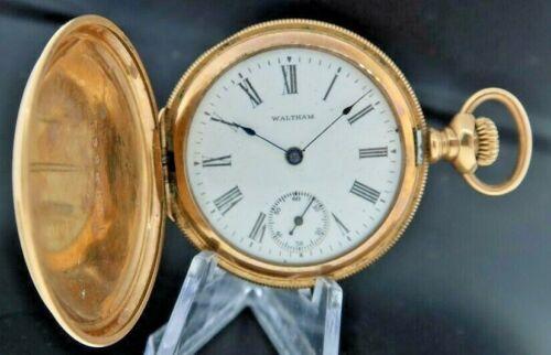 Antique 0 Size Waltham Seaside 7J Manual Wind Hunter Pocket Watch Gold Filled