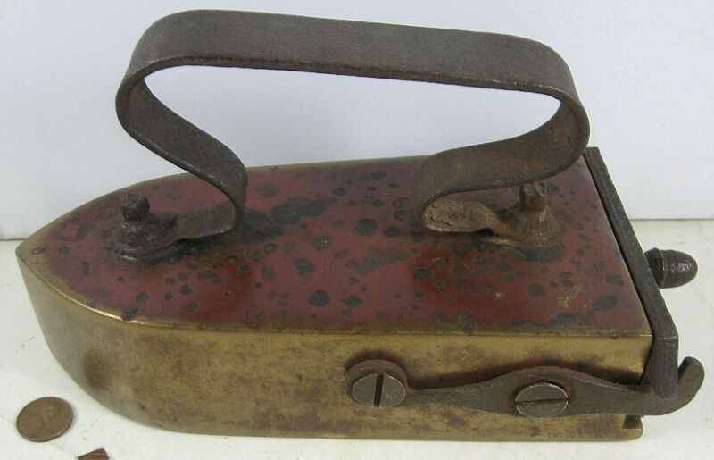 Antique Early Heavy Brass Iron Slug Iron With Swing Gate Early 1800