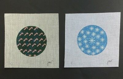 (Two Hand-painted Needlepoint Canvas Round Ornaments/Candy Canes & Snowflakes)