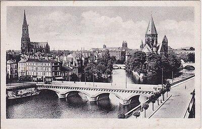 uralte AK, Metz, An der Mittelbrücke, gezeichnet als Feldpost, 1943
