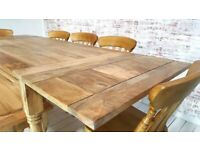 Farmhouse Dining Table Natural Extendable Rustic Hardwood Finish with Matching Benches & Chairs