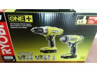 RYOBI ONE+18V HAMMER DRILL & IMPACT DRIVER 2x BATTERIES CHARGER AND CARRY CASE