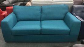 Teal blue fabric 2 sofa
