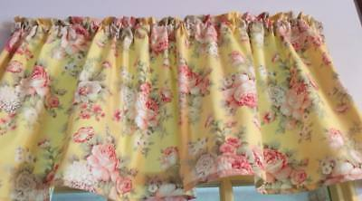 "Yellow Valance Dim Pink Shabby Chic Roses Window Curtain Cotton 43""W x 15""L"