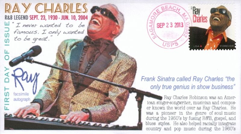 COVERSCAPE computer designed R&B Legend Ray Charles anniversary of birth U/O fdc
