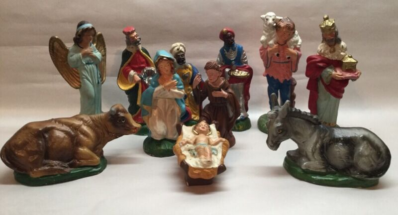 Hand Painted Nativity Set Figures Italy Scene 11 Pcs Donkey Cow Baby Jesus Vtg