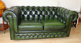 2 seater green leather sofa