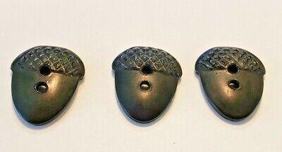 Vintage Set Bakelite? Casein? Plastic Acorn Shape Buttons 3 Count Black 3/4 Inch