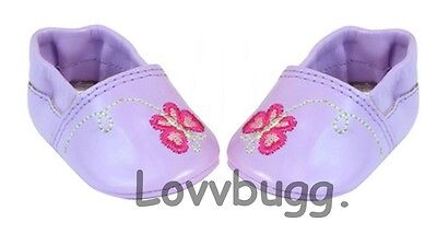 Lovvbugg Lavender Butterfly Slippers for Bitty Baby Doll Shoes Clothes