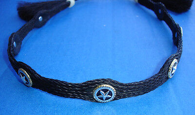 Western Decor Cowboy HAT BAND Woven 5 Strand Horsehair With Tassels 3/4