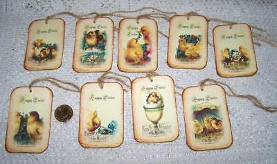 Easter Vintage Chicks Happy Easter Linen Cardstock Gift Hang Tags