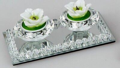 Formano Teelicht Leuchter Spiegel Brilliant für 2 Kerzen Länge ca.17 cm 809605 ♥ ()