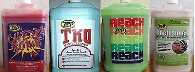 ZEP HAND CLEANER VARIETY CASE, 1 OF CHERRY BOMB,REACH,TKO,SHELL SHOCK + PUMP