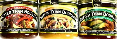 Better Than Bouillon Organic Low-Salt Roast Chicken, Beef, Vegetable Base, 16 oz
