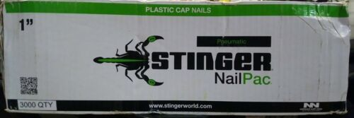 "Stinger NailPac 1"" Plastic Cap with Nails 3000 Pieces 0136260"