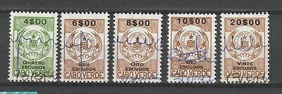 Cabo Cape Verde Portugal Colony Revenue stamps selection of 5