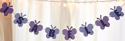 It's a girl baby shower purple/lavender butterfly custom name hanging banner