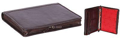Real Leather Organiser Brown Zip Around Folder Underarm A4 Binder Paper Work Bag