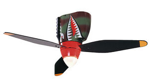 CRAFTMADE WARBIRD AIRPLANE TIGER SHARK Ceiling Fan