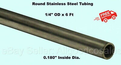 Round Tubing 304 Stainless Steel 14 Od X 6 Ft. Welded 0.180 Inside Dia.