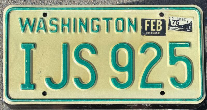 1968-1982 Washington State Passenger Vehicle License Plate Single, Natural 1975