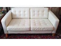 Ikea faux leather cream sofa - fair condition