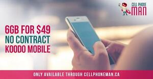 6 GB LTE DATA + Unlimited NATIONWIDE TALK + TEXT FOR 49$/mo - Cellphone Man Canada