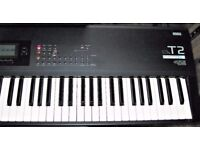 Korg T2 76 key synth. piano keyboard. Plays sounds but some buttons kaput.