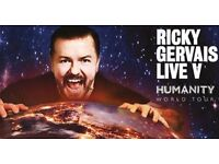 2 x Ricky Gervais platinum tickets FACE VALUE ONO. 6 rows from the front!