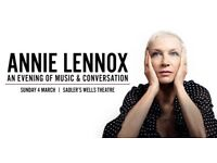 2 x Annie Lennox Tickets London Sadlers Wells Theatre 04 March 2018