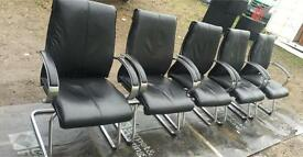 10 X Black leather Boardroom meeting visitors chairs. Delivery