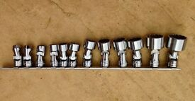 """Snap On Universal Socket Set.....5/16 to 1"""", 12 Point....3/8 Drive"""