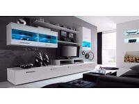 Wall Unit Malibu / Free LED !!! / TV Stand / Living room Furniture / High Gloss