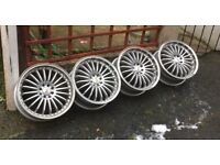 "Vw ford Vauxhall 17"" BK RACING deep dish split rim style alloy wheels 4x100 4x108 5x100 5x108 pcd"
