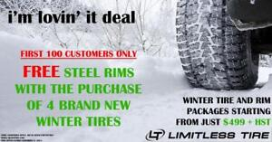 Free steel rims with the purchase of winter tires @ Limitless Tire