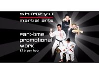 Part-time promoter for Martial Arts Club, £16 per hour giving away free trials. Waltham Forest area