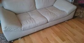 Only 100 quid!! Stunning cream leather sofa for sale. Thick leather, stylish.