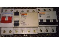 Various circuit breakers 100A, 32A and 40A and RCD