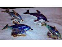 4 x Royal Crown Derby Dolphin Paperweights