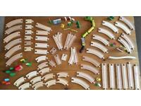 LARGE JOB LOT - 90 Piece wooden Train Track and Accessories.