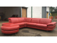DFS red leather corner sofa and footstool DELIVERY AVAILABLE