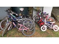 Large pile of bikes for spares or repair. £75 for the lot.