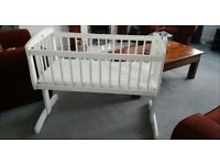 White solid wooden rocking baby crib with canopy /drape fitting