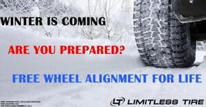 FREE WHEEL ALIGNMENT FOR LIFE, ONLY @ LIMITLESS TIRE