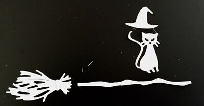 Died On Halloween (Halloween Die Cuts * Witch Cat on Broom * 12 Sets * White Cardstock *)