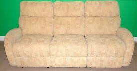 La-Z-boy reclining fabric three seat sofa.