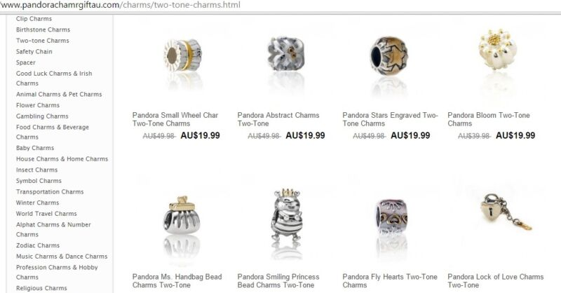 An almost believable imitation of an official Pandora retailer. Noticeable differences being poor quality graphics.