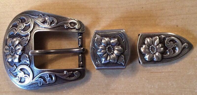 "3 Piece Western Silver Tone Ranger Belt Buckle Set for 1"" belt   Brand New!!"