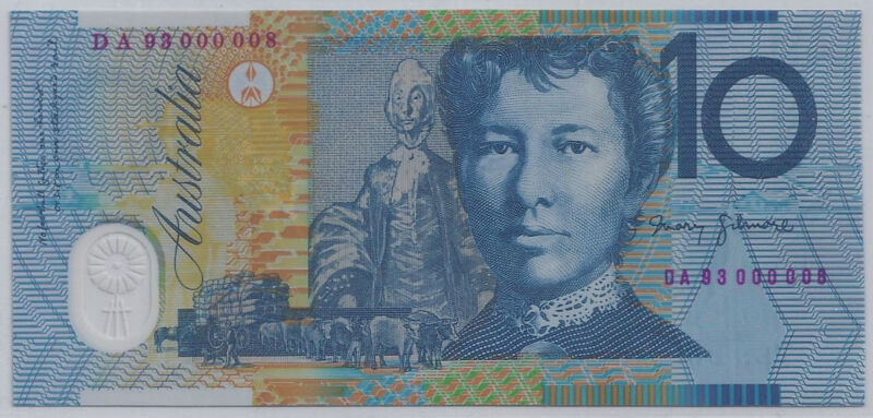 $10 AUSTRALIA 1993 POLYMER RED  # 000008  UNC  LOW SERIAL #8  BANKNOTE