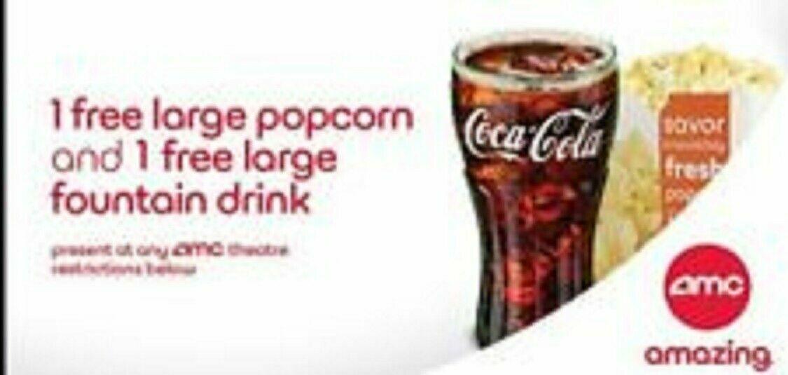 2 AMC Large Drinks/ 1 AMC Large Popcorn, Expires On 06/30/2022 - $11.50